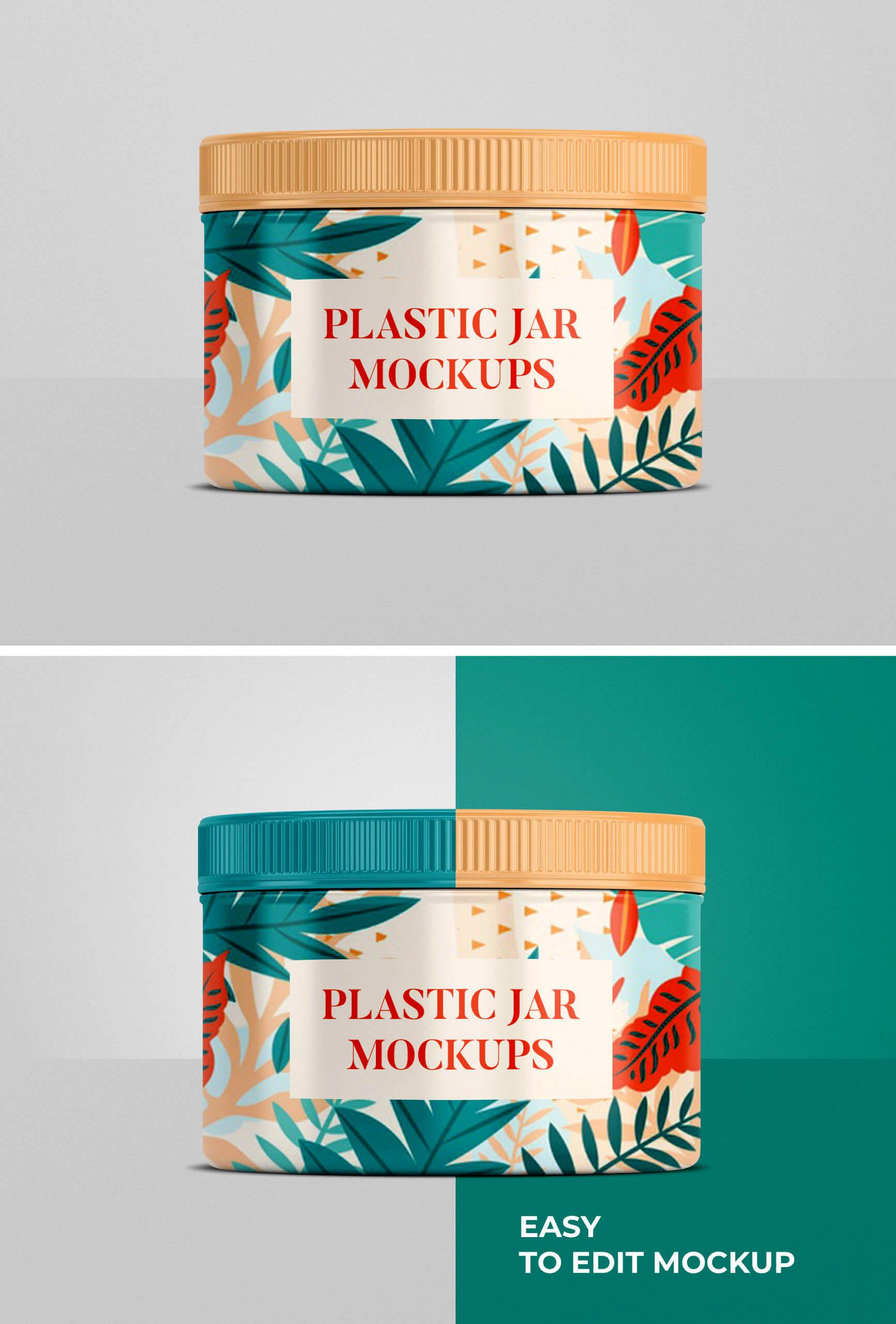 Free Customizable Plastic Jar Mockup PSD Template1