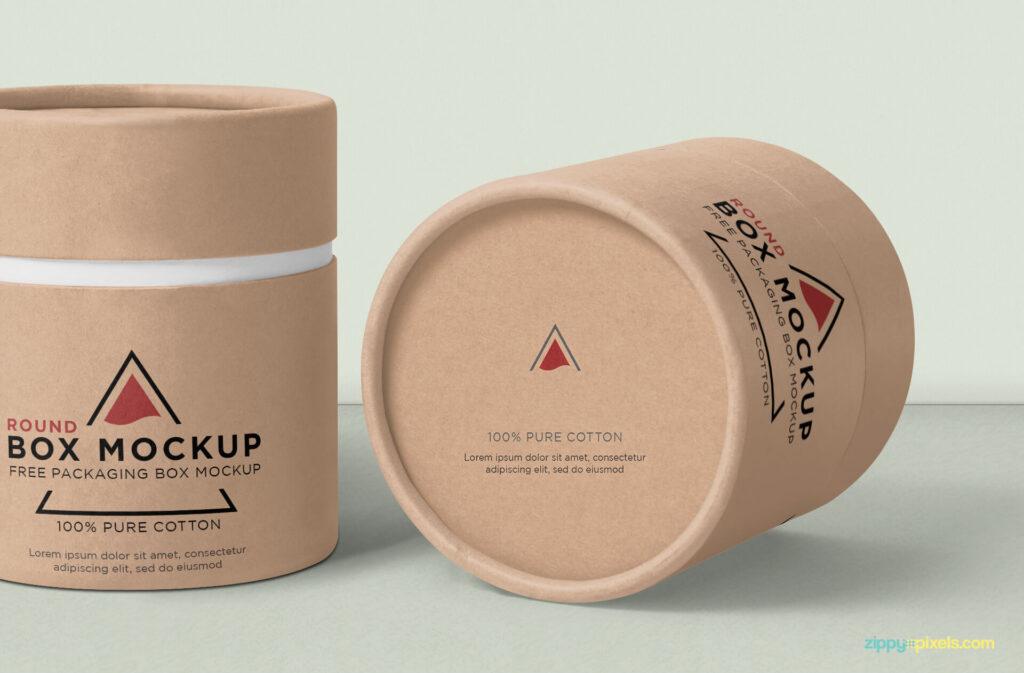 Free Cylindric Round Box Mockup PSD Template3