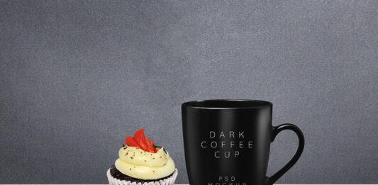 Free Dark Coffee Mug Mockup PSD Template