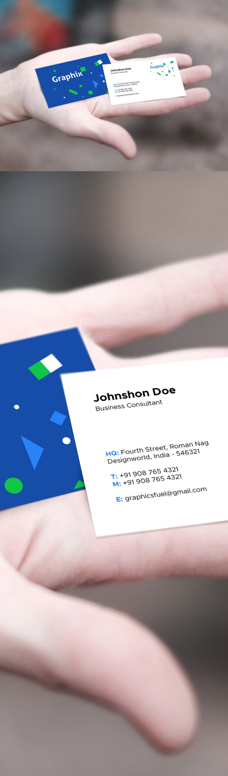Free Delighted Business Card In Hand Mockup PSD Template