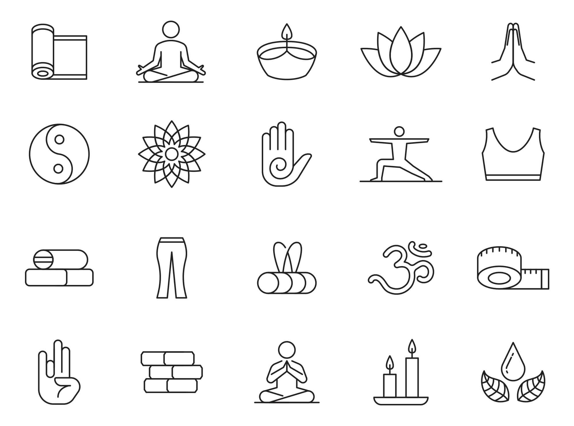 Free Downloadable 20+ Yoga Vector Icons