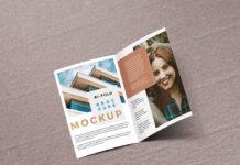Free Easy Designable Bi-fold Brochure Mockup PSD Template