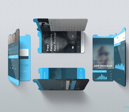Free Editable iOS Perspective Mockups PSD Template