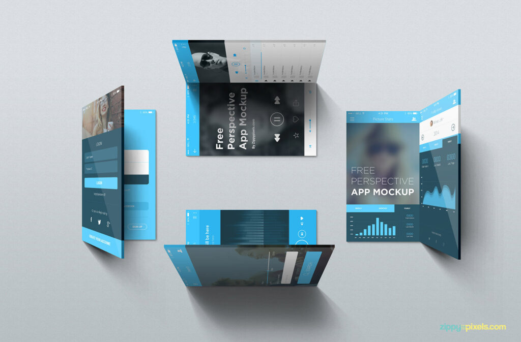 Free Editable iOS Perspective Mockups PSD Template3