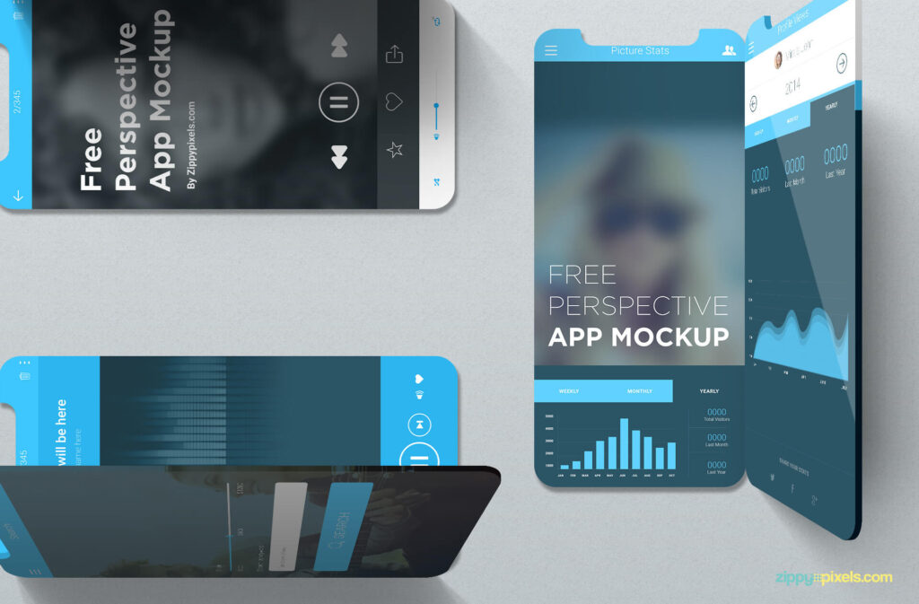 Free Editable iOS Perspective Mockups PSD Template4
