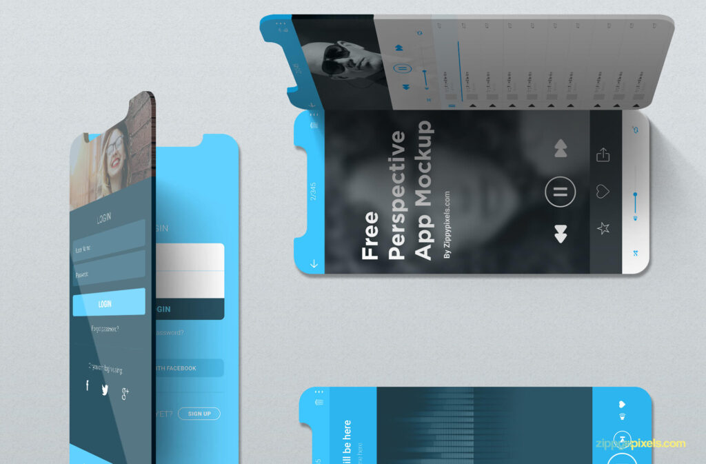 Free Editable iOS Perspective Mockups PSD Template5