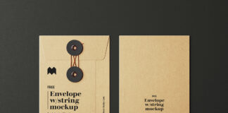 Free Envelope With String Mockup PSD Template