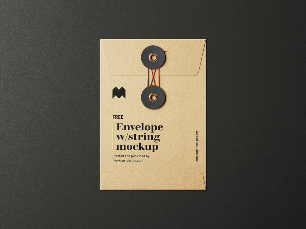 Free Envelope With String Mockup PSD Template3