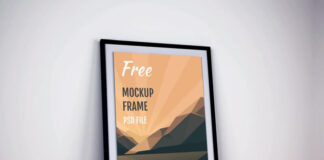 Free Eye Catchy Poster Frame Mockup PSD Template