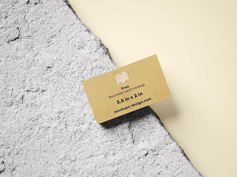Free Front View Business Card Mockup PSD Template