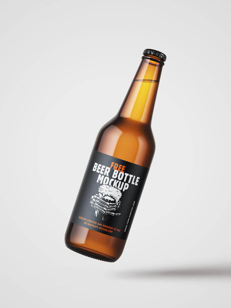 Free Fruity Beer Bottle Mockup PSD Template