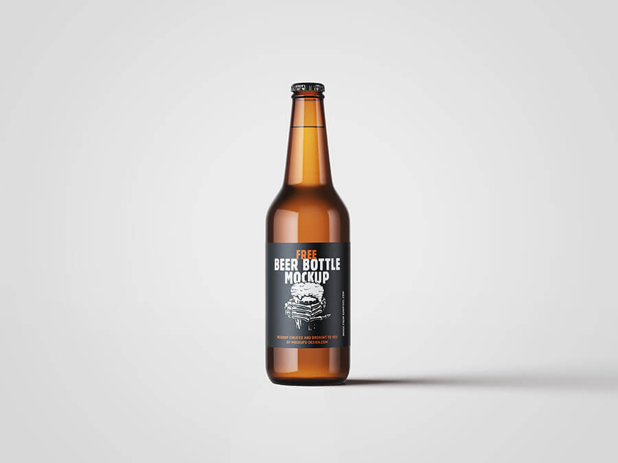 Free Fruity Beer Bottle Mockup PSD Template1
