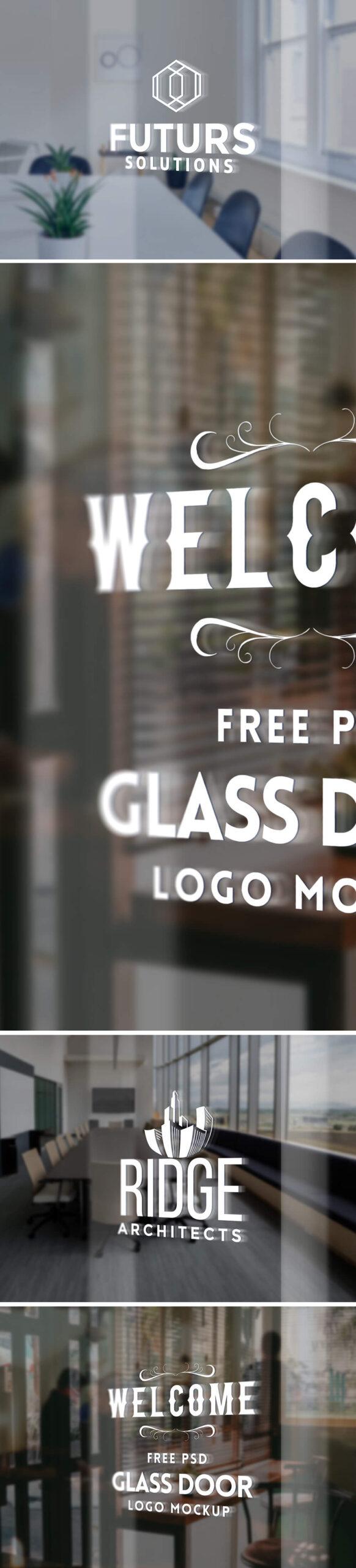 Free Glass Door Logo Mockup PSD Template