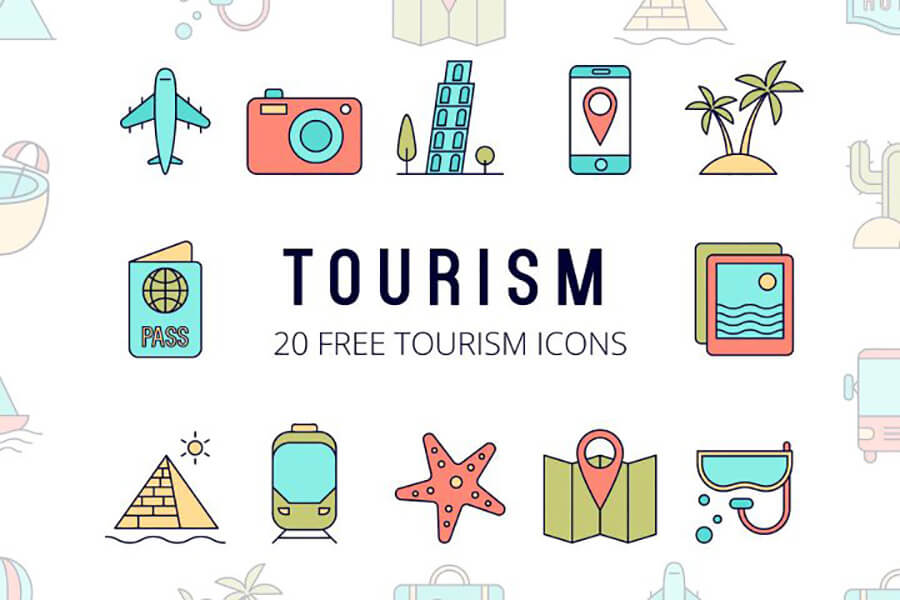 Free Global Tourism Vector Icon Set