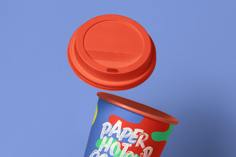 Free Gravity Paper Hot Cup Mockup PSD Template