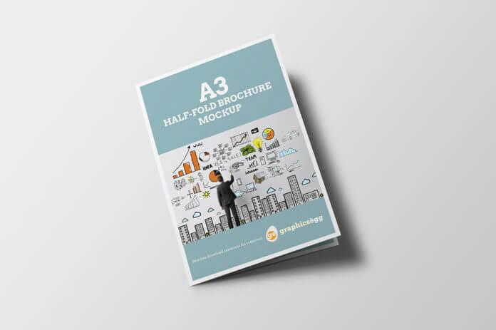 Free Half-fold Brochure Mockup PSD Template
