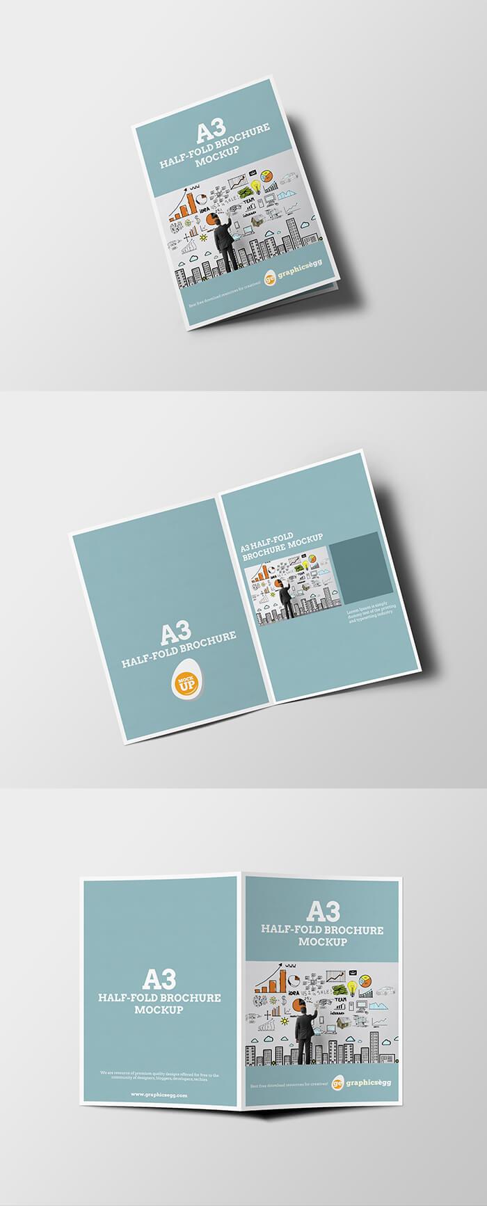 Free Half-fold Brochure Mockup PSD Template1