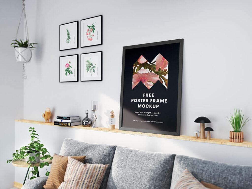 Free Modern Poster Frame Mockup PSD Template