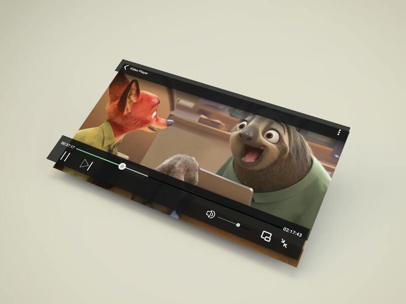 Free Modern Video Player PSD Mockup PSD Template