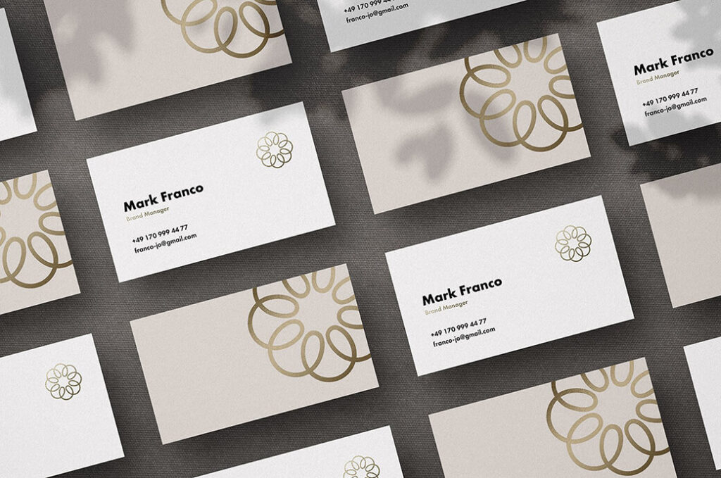 Free Mote Business Card Mockups PSD Template