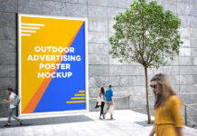 Free Outdoor Advertising Poster Mockup PSD Template