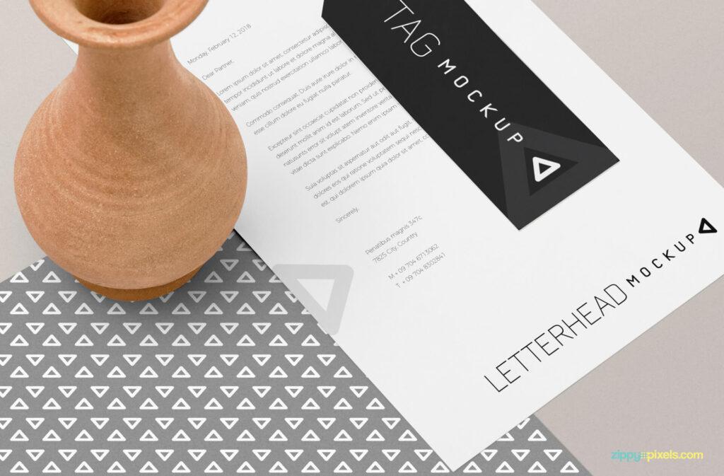 Free Overviewed Letterhead Mockup PSD Template4