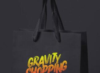 Free Paper Gravity Shopping Bag Mockup PSD Template