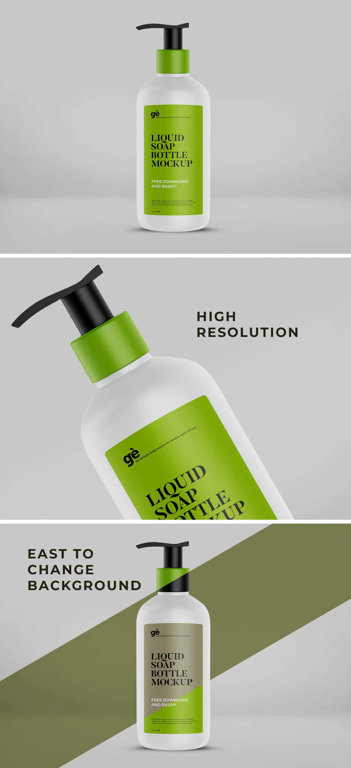 Free Pumpable Liquid Soap Bottle Mockup PSD Template1