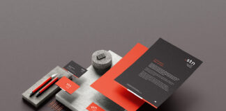Free Rock And Paper Stationery Mockup PSD Template