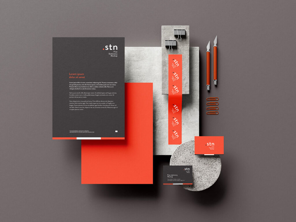 Free Rock And Paper Stationery Mockup PSD Template2