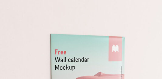 Free Single Panel Wall Calendar Mockup PSD Template