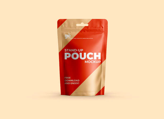 Free Stand-up Pouch Packaging Mockup PSD Template