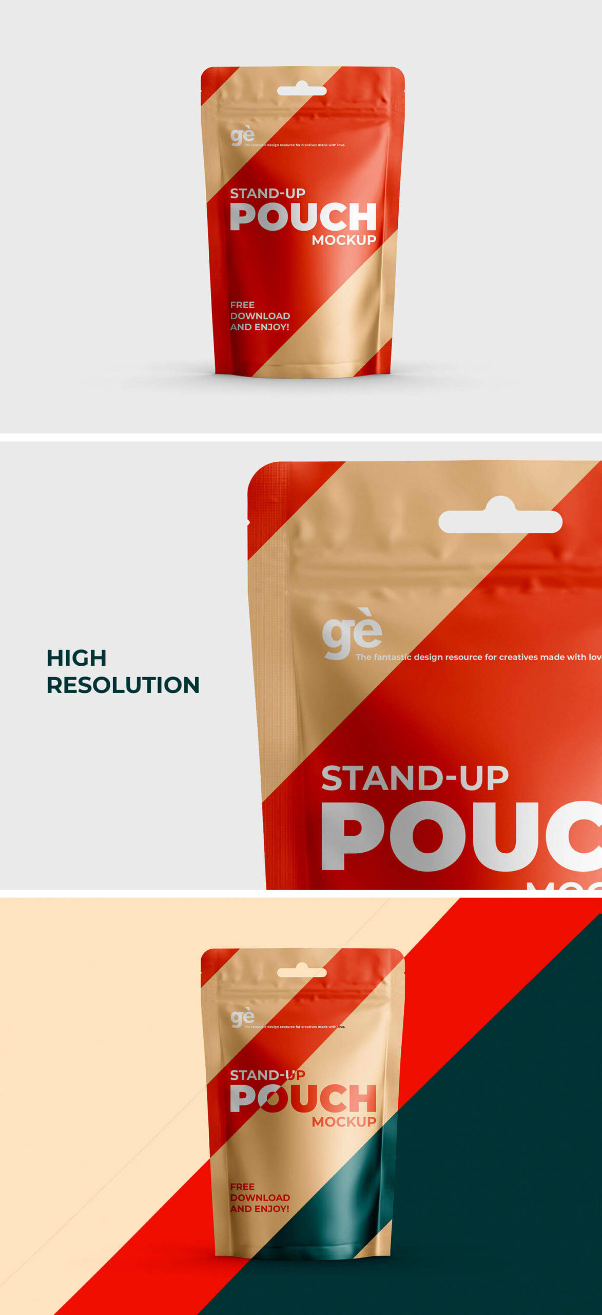 Free Stand-up Pouch Packaging Mockup PSD Template1