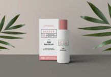 Free Standing Cosmetics Packaging Mockup PSD Template