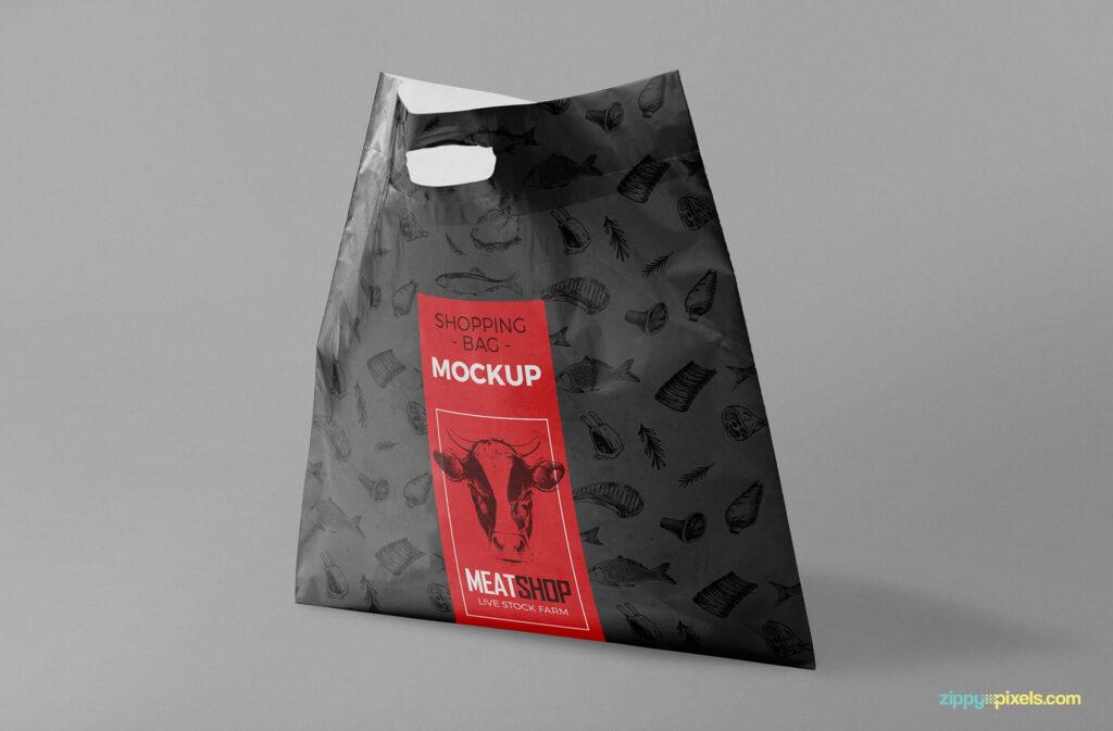 Free Standing Plastic Bag Mockup PSD Template