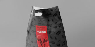 Free Standing Plastic Bag Mockup PSD Template