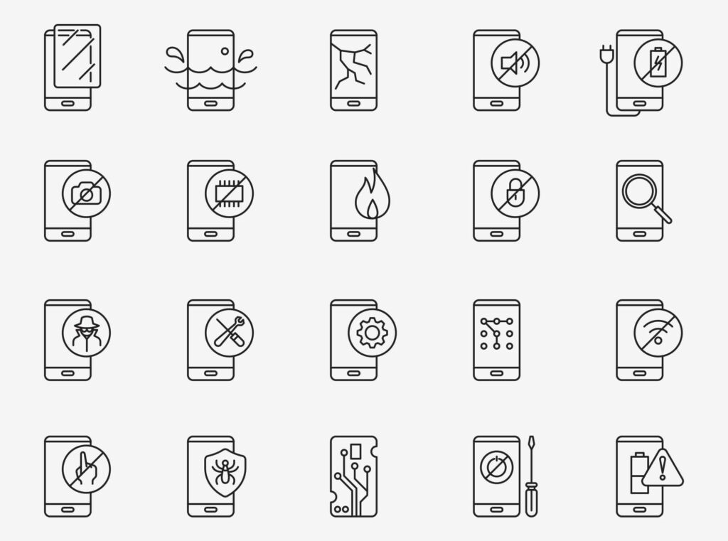 Free Technician Mobile Fix Vector Icons