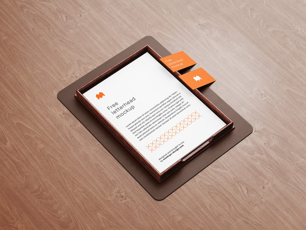 Free Top View Letterhead Mockup PSD Template1