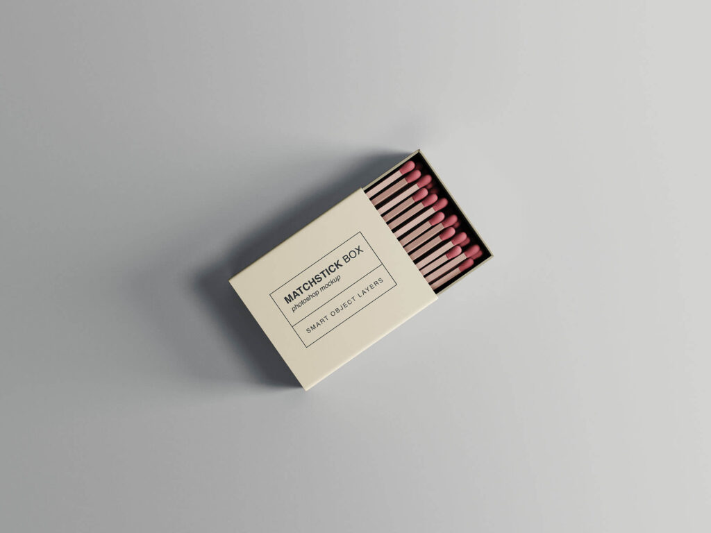 Free Top Viewed Matchstick Box Mockup PSD Template