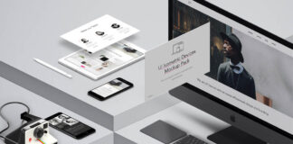 Free UI Isometric Devices Pack Mockup PSD Template