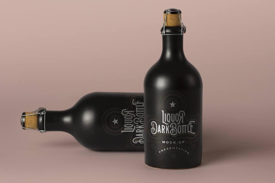Free Vintage Dark Liquor Bottle Mockup PSD Template