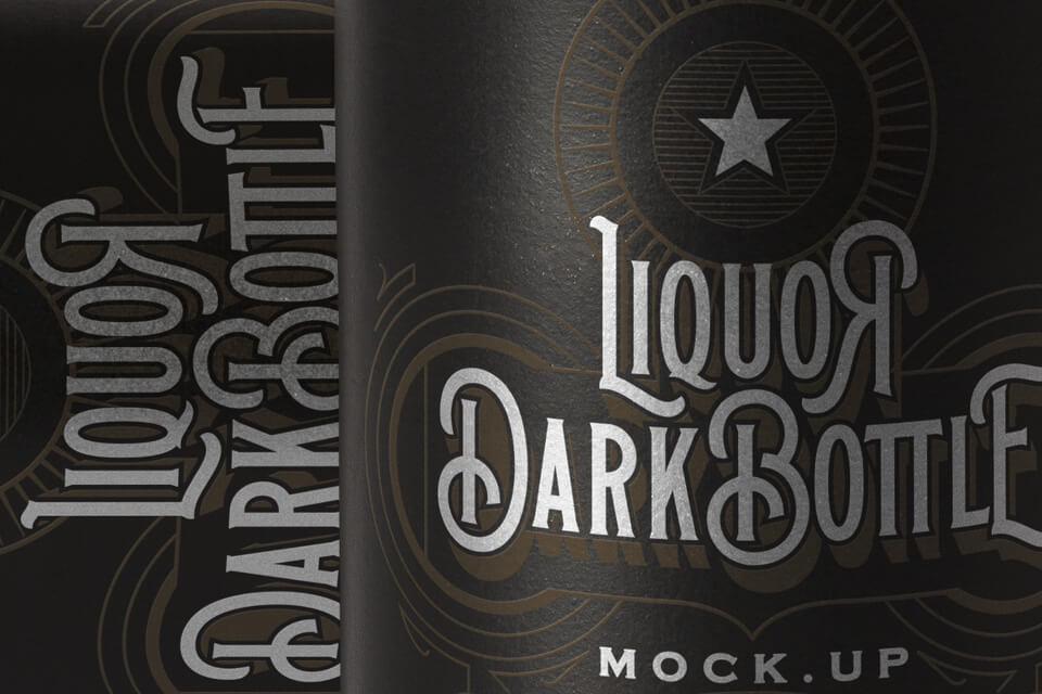 Free Vintage Dark Liquor Bottle Mockup PSD Template2