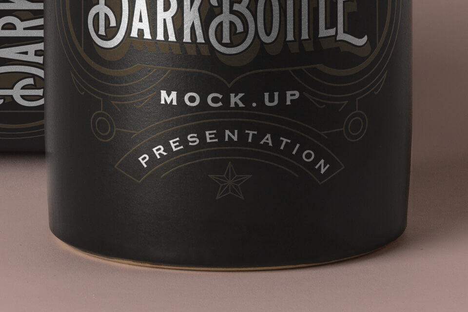 Free Vintage Dark Liquor Bottle Mockup PSD Template3