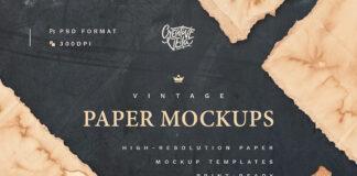 Free Vintage Paper Mockup Set PSD Template