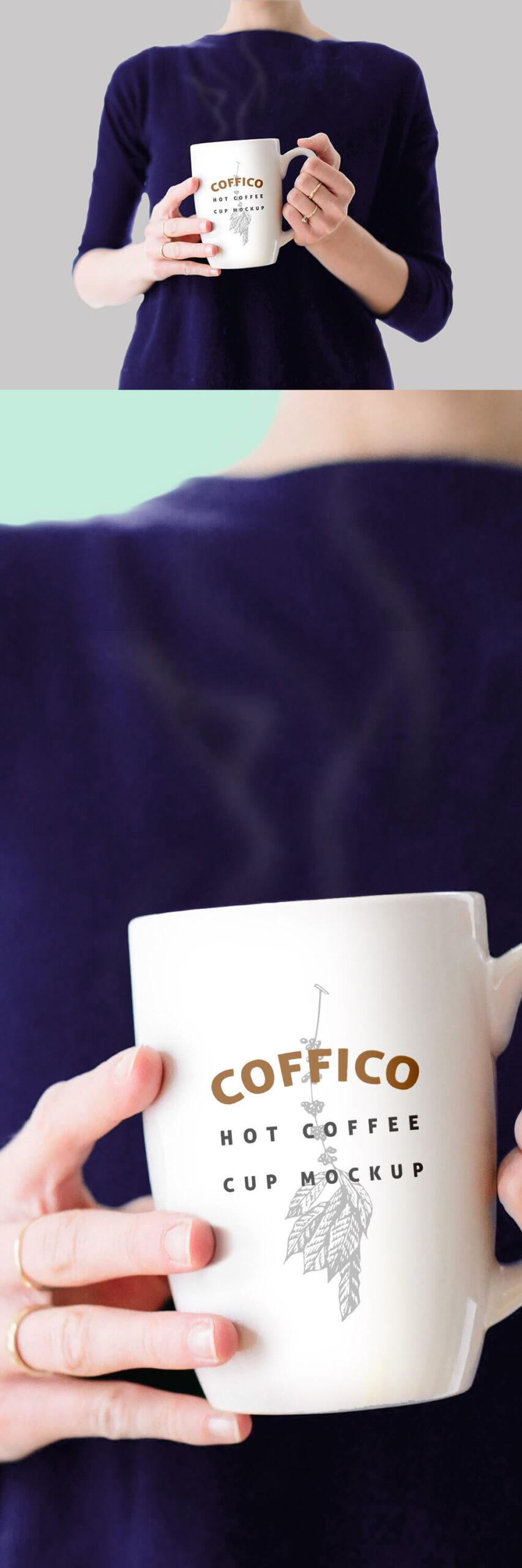 Free Woman Holding a Coffee Mug Mockup PSD Template