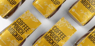 Free Yellow Coffee Packaging Mockup PSD Template