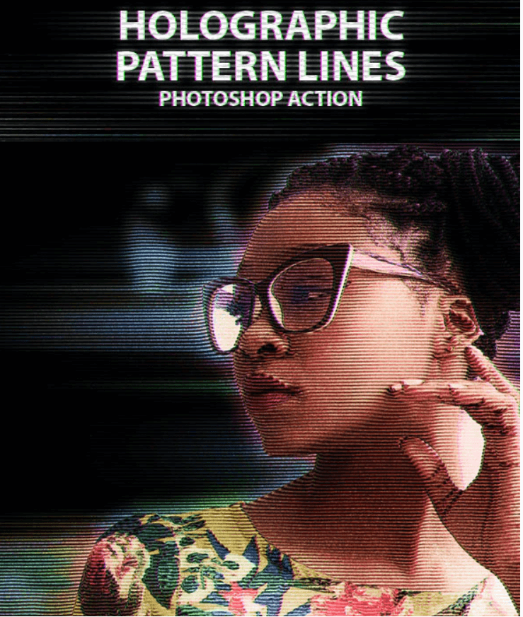Holographic Pattern Lines Photoshop Action (1)