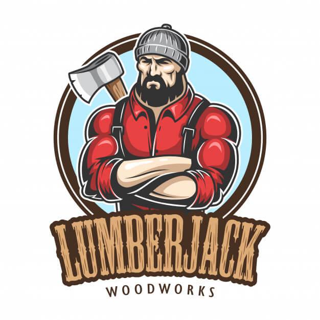 Of lumberjack emblem, label, badge, logo