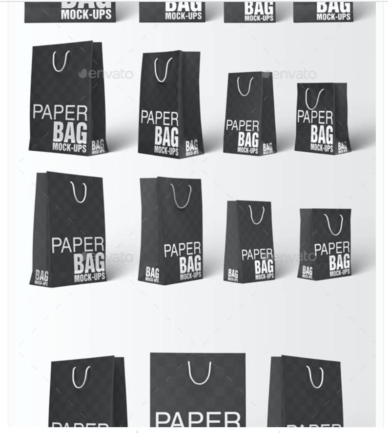 Paper Bag Mockups - Paper Shopping Gift Bag Mockup
