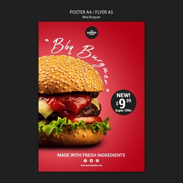 Poster template for restaurant with burger Free Psd